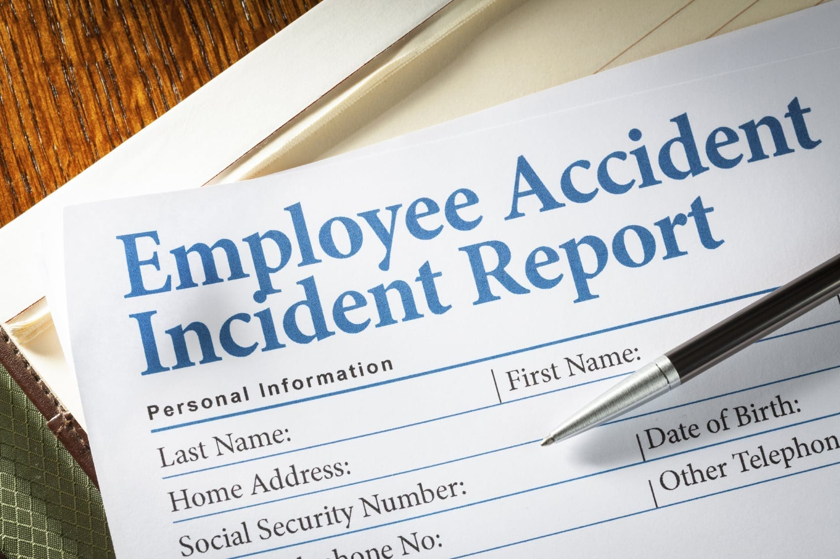 Employee Accident Incident Report Stock Photo
