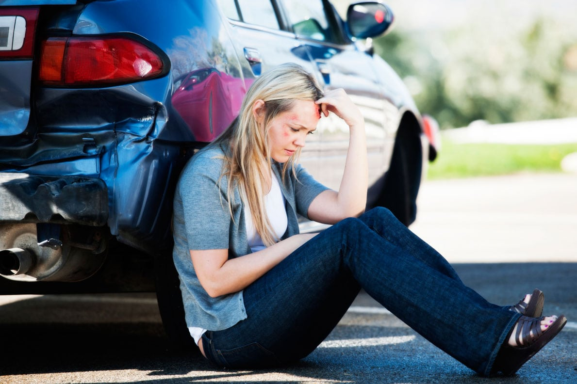 Young Woman After A Car Accident Stock Photo