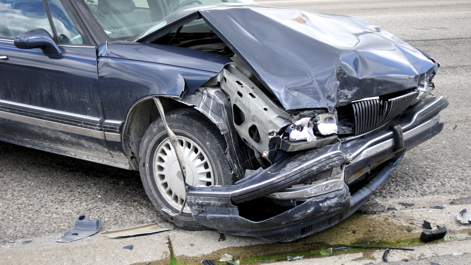 Front End Damage Car Accident Stock Photo