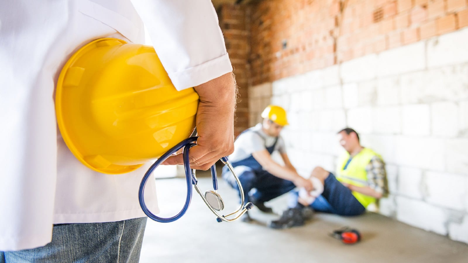 Construction Worker With Injury Stock Photo