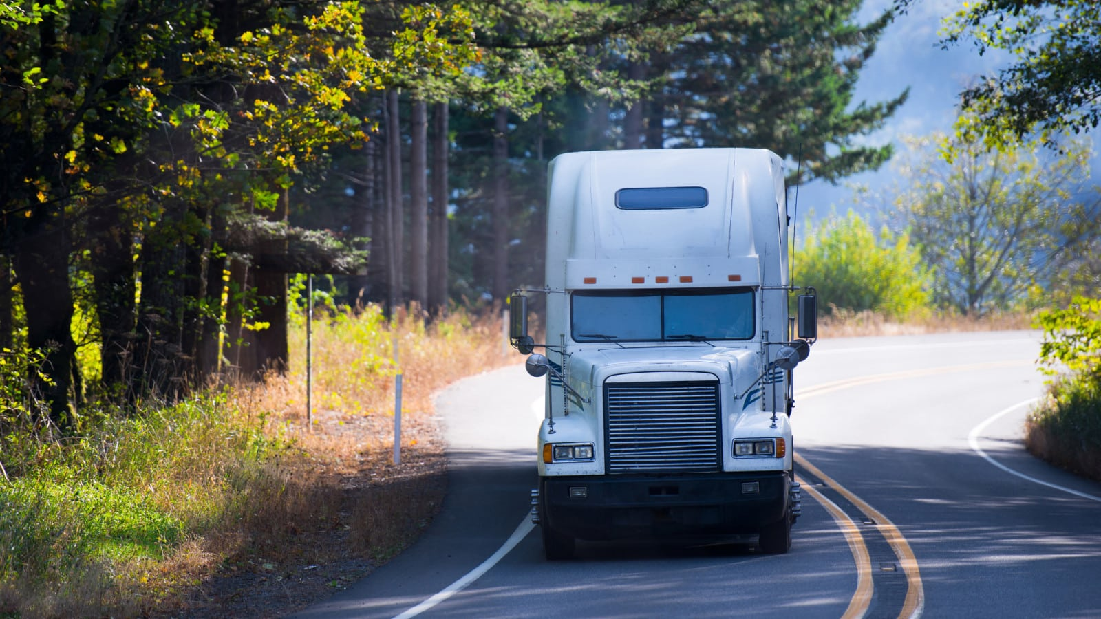 White 18-wheeler Truck Stock Photo