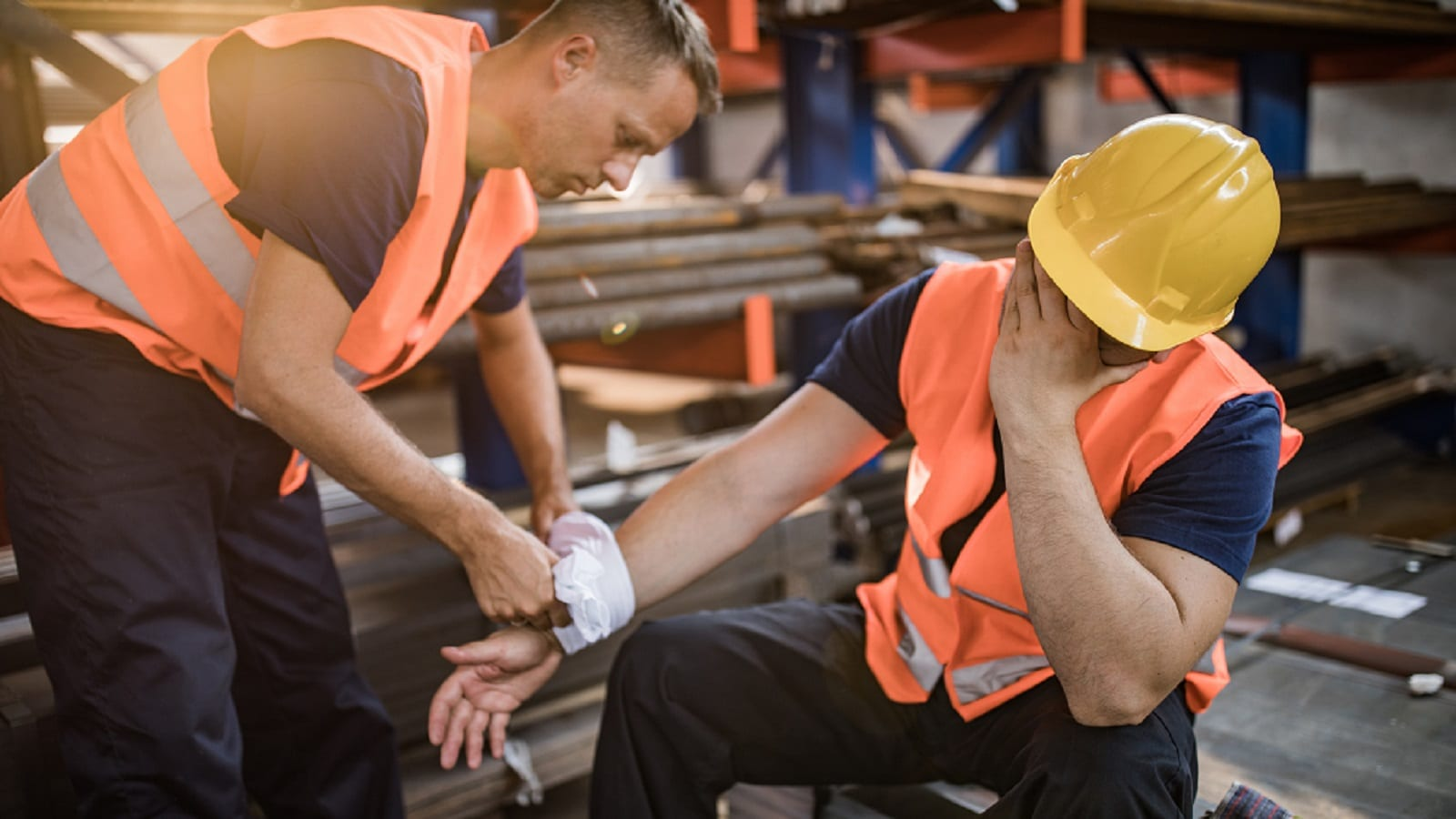 Injured Construction Worker Stock Photo