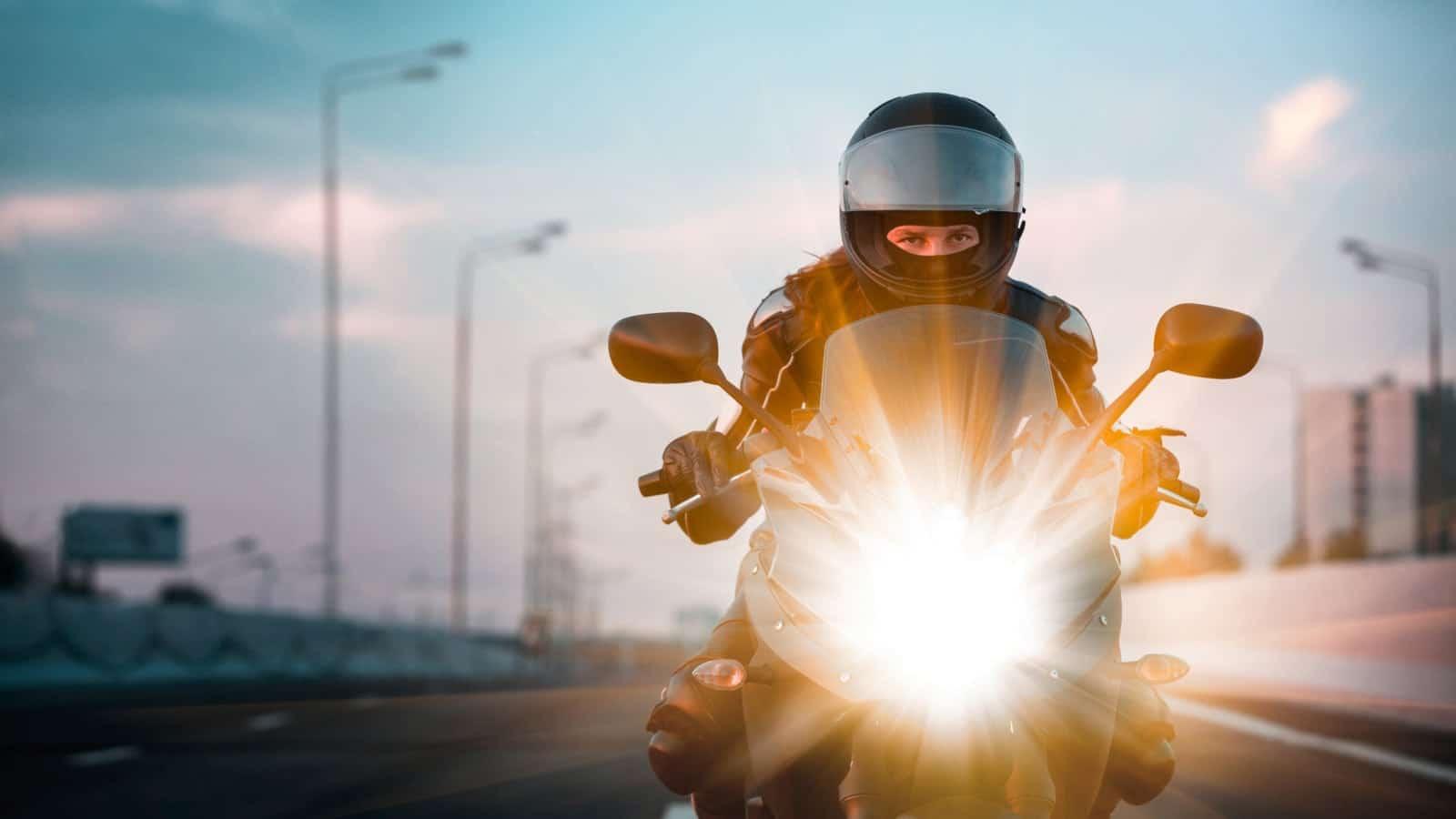 Motorcycle Woman Stock Photo