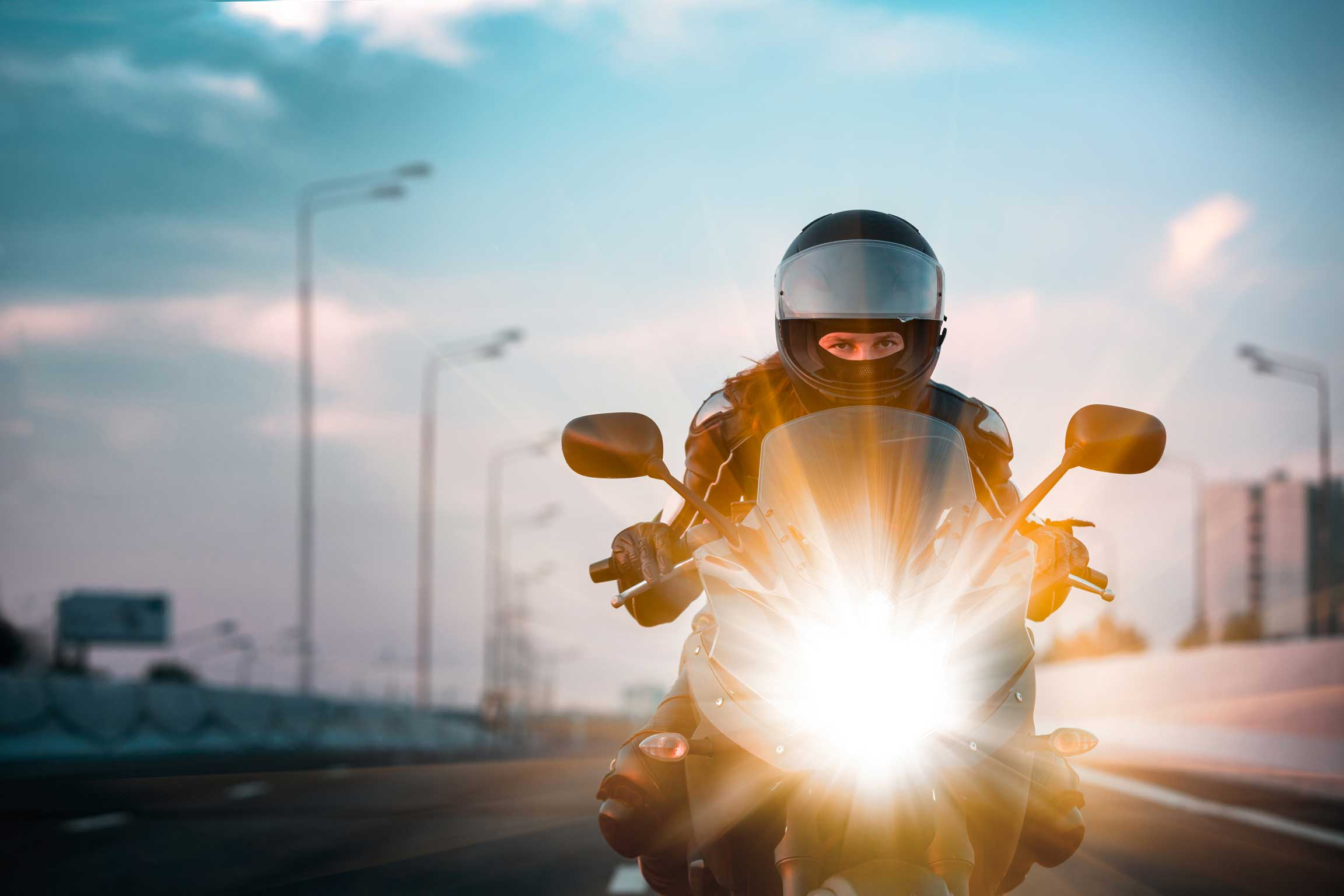 Motorcycle Woman Stock Photo