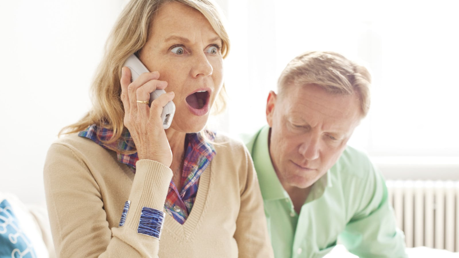 Surprising Phone Call Stock Photo