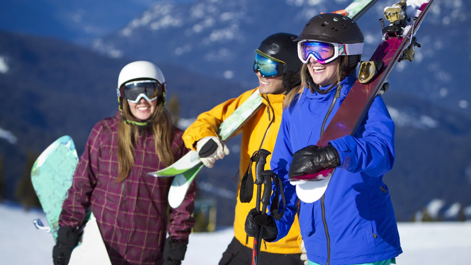 Skiers and Snowboarders Stock Photo