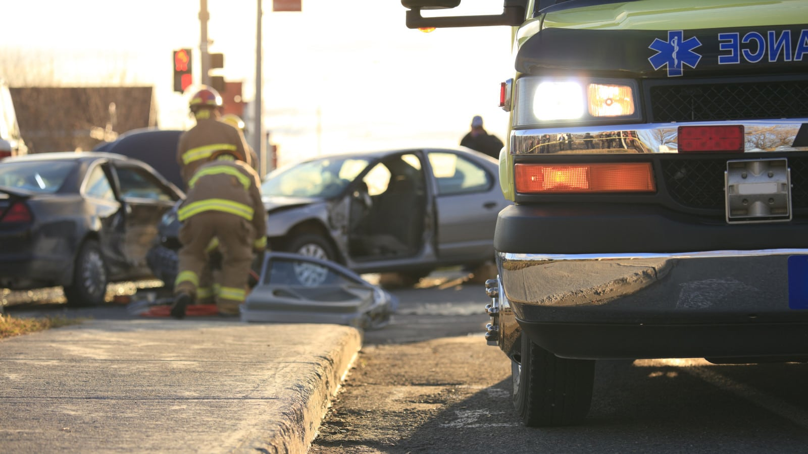 Ambulance Accident Scene Stock Photo
