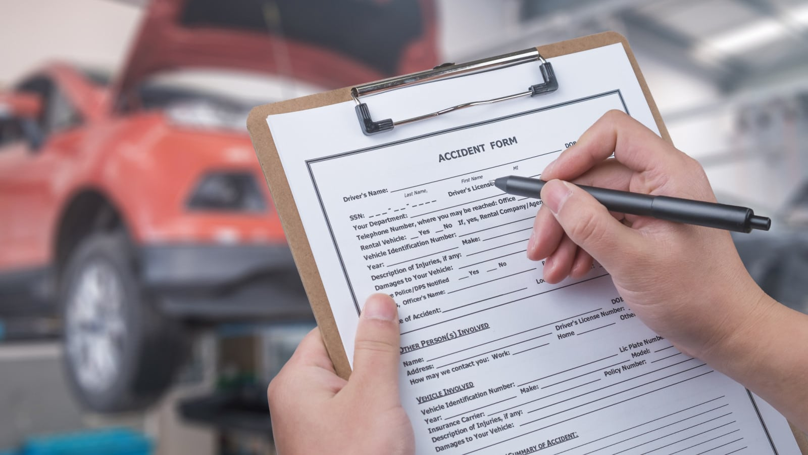 Filing Accident Form Stock Photo