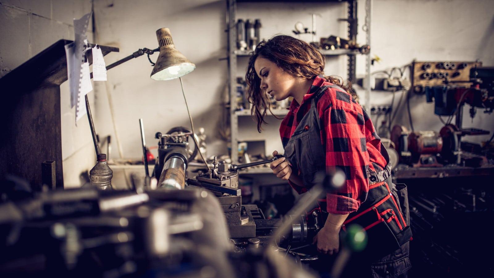 Female Welder Stock Photo