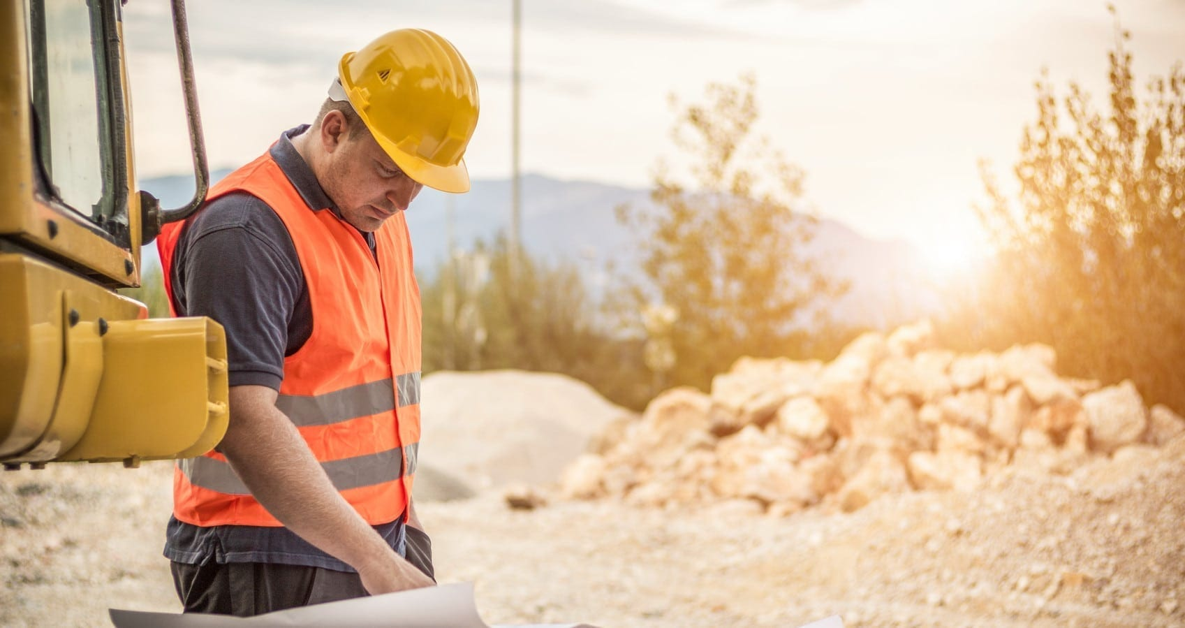 Construction Worker On The Job Site Stock Photo