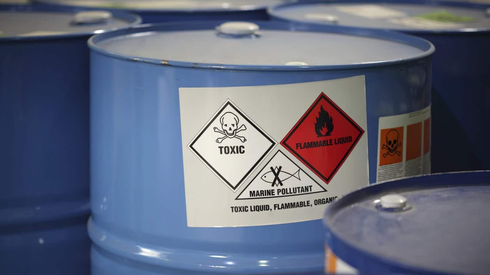 Toxic Flammable Liquid Warning Label